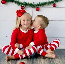 Kids Clothes Baby Christmas Pajamas Boys Xmas Stripe Nightsuits Girls Cotton T Shirts Pants Outfits Long Sleeve Tops Trousers Suits Gifts on Sale