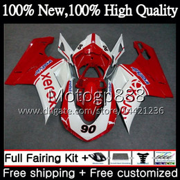 Discount fairings ducati 1098 Body For DUCATI 848 1098 1198 07 08 09 10 11 848R 1098R 14PG22 Red white 848S S R 1098S 1198S 2007 2008 2009 2010 2011 Fairing Bodywork