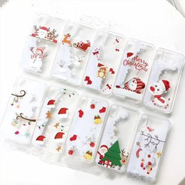 elderly mobile phones 2019 - Christmas i 7   8   6s   plus Christmas tree quicksand mobile phone shell snowflake elderly protective shell X