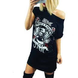 Barato Camisas De Rock Sexy-Wholesale- 2017 Sexy Long Rock Club Tops manga curta Summer Fashion Hot Sale Eagle Skeleton Print T shirt