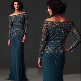 Longue Robe De Paillettes Pas Cher-Dark Teal Sequins Robe de bal Robe de bal Long Country Off Shoulder Mère de la mariée Robes Tenue formelle 2017 Graduation Dresses