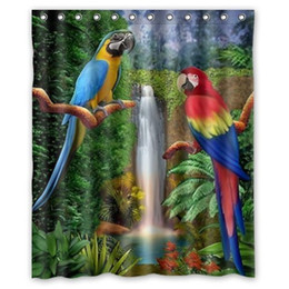 $enCountryForm.capitalKeyWord UK - Customs 36 48 60 66 72 80 (W) x 72 (H) Inch Shower Curtain Parrot Pattern DIY Waterproof Polyester Fabric Shower Curtain