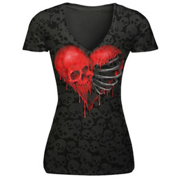 fab094d5ce327 Women T Shirts Skulls Canada - Wholesale- MUQGEW women t-shirt V collar  skull