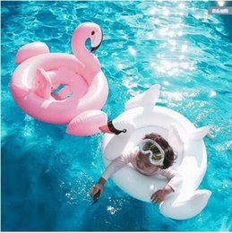 wholesale swimming toys NZ - Flamingos Swan Inflatable Float Swim Ring Baby Summer Paddle Toys Swimming Seat Ring Water Toys Beach Toys Baby Learn To Swim Ring