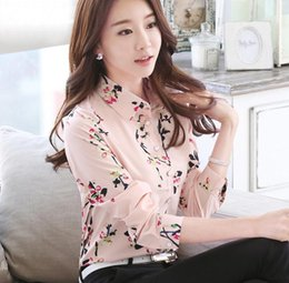 most popular prints NZ - Most popular Floral chiffon shirt Women's clothing pink OL slimming large code 2018 spring fashion tunic printed women shirt