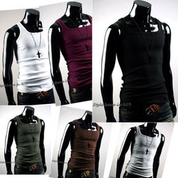 Hommes Slim T Shirts Modal Pas Cher-Vente en gros- New Style Mens Summer Fashion Slim Fit Sexy Stylish Tank Tops T-shirt Chemises