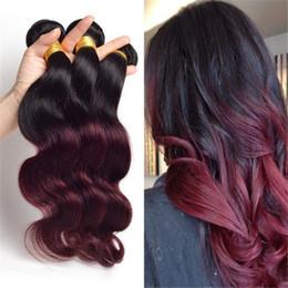 $enCountryForm.capitalKeyWord NZ - Ombre Hair Extension Brazilian Virgin Hair Body Wave Cheap 1B 99J 3PCS Lot Burgundy Ombre Brazilian Hair Weave Wavy