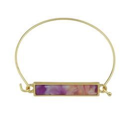 Wholesale Druzy Bracelet Canada - Gold Plated Brand Drusy Gem Bar stone Quartz Cuff Bangles Women Strip Druzy Imitated Crystal Bracelets