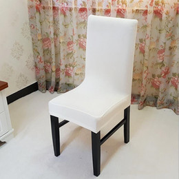 Chaise Blanche Couvre Les Mariages Pas Cher-White Spandex Stretch Dining Chair Cover Machine Restaurant lavable pour les mariages Banquet Folding Hotel Chair Covering
