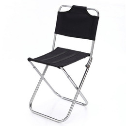 Aluminum Camp Chairs Canada - Wholesale- Portable Outdoor Fishing Folding Chairs Garden Picnic Camping Black Aluminum Home Furniture Stackable