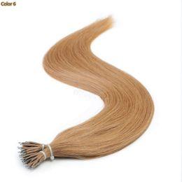Venta al por mayor de ELIBESS HAIR // Nano Anillo extensiones de cabello 0,9 g por cada hebra 200s Paquete recta cabello humano Remy Natural Color Negro Cabello castaño rubio, 12-26inch