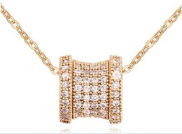 China Drum Shape Hollow Star Flowers Slide CZ Diamond Paved Two Sides Pendant Necklaces Women 18K Rose gold Plated Jewelry UN0107 cheap link two suppliers
