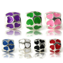 Chinese  50pcs Lot Fashion Mixed Enamel Heart Alloy Metal Spacer Beads for Jewelry Making DIY Beads for Bracelet Wholesale in Bulk Low Price REB3 manufacturers