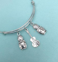 China RUSSIAN Dolls & Guitar Charm Expandable Wire Bangles Vintage Silver Cuff Bangles For Women Jewelry Fashion Gift Couple Accessories 10pcs cheap guitar wiring suppliers