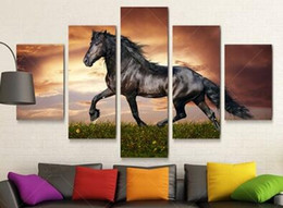 large paintings horses NZ - Unframe 5 Panel Modern Printed Large Horse Painting Picture Cuadros Landscape Canvas Wall Art Home Decor for Living Room