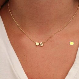 Necklaces Pendants Australia - Hot Fashion 26 Letter & Heart-shaped DIY Charm Pendant Necklace Women Simple Necklace Lovers Gift Gold Plated Silver Initial Choker