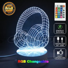 $enCountryForm.capitalKeyWord NZ - Novelty 7 Color Changing Acrylic Colorful Gradient Atmosphere 3D LED Night Light Headset Lamp USB Bedroom Table Lamp