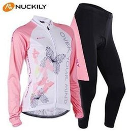 2015 Professional rock cycling NUK team pink white sportwea women Long sleeve cycling jersey and pants set   bicycle gear set