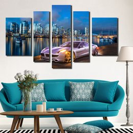 UnFramed 5 Panel Wall Art Beautiful Night View Of The City Painting On  Canvas Textured Fashion Paintings Pictures Decor Living Room