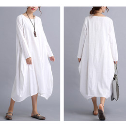S'habille Pas Cher-2017 New Womens Casual Long Sleeve Lisse Coton Lin Maxi Longue Robe Kaftan 2 Couleurs 4 Taille