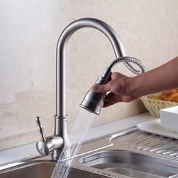 $enCountryForm.capitalKeyWord Australia - Wholesale- Luxury Top Quality Brushed Nickel Kitchen Sink Water Taps Brass Sink Kitchen Faucet Spray Head Shower Kitchen Water Mixer Tap