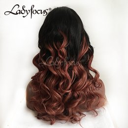 $enCountryForm.capitalKeyWord NZ - Auburn Glueless Full Lace Human Hair Wigs Natural Wave Ombre Brazilian Lace Front Wig With Baby Hair For Black Women