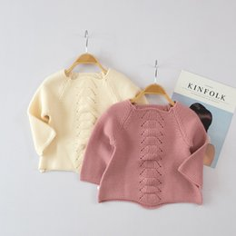 Chemisier Femme Rose Pas Cher-Everweekend Baby Girls Pull en tricot Tops Ruffles Candy Beige Rose Couleur Automne Chemisier d'hiver Automne Vêtements d'hiver