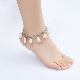 $enCountryForm.capitalKeyWord NZ - Fashion Ankle Bracelets Boho Silver Tone Shell Tassel Anklets Gothic Foot Chains Barefoot Beach Sandals For Womens