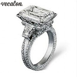 Wholesale Vecalon Eiffel Tower Women Big Jewelry ring ct A Zircon stone Cz Sterling Silver Engagement Wedding Band Ring