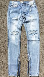 Wholesale-Best version fear of god FOG men Selvedge zipper destroyed skinny slim fit justin bieber Vintage ripped blue denim jeans на Распродаже