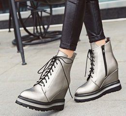Boots Warm Up Canada - Wholesale New Arrival Hot Sale Specials Super Influx Warm Noble Martin Leather Tide Pointed Lace Up Students Wedge Ankle Boots EU34-43
