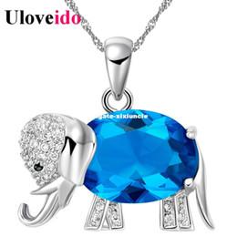purple elephant necklace 2019 - 15% off Trendy Elephants Pendant Necklace Blue Red Purple Silver Romantic Christmas Gift Children Necklace Collier Femme