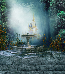 Scenic wallpaper online shopping - 8x10ft Mysterious Castle Forest Photography Backgrounds Yellow Flowers Retro Vintage Studio Props Wallpaper Photo Booth Backdrops Fabric