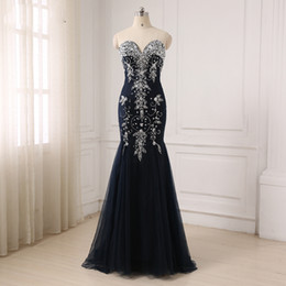 Barato Luxuoso Vestido De Baile De Noite-2017 Luxuoso Black Beaded Evening Party Dresses Wear Sweetheart Mermaid Long Real Picture Prom Gowns formal