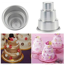 Tiers En Gros Pas Cher-Vente en gros - 1PC DIY Alloy Mini 3-Tier Cupcake Pudding Moulin à gâteau au chocolat Baking Pan Aluminium Mold Party Nouveau