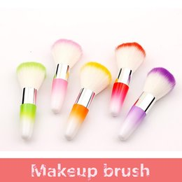 short makeup brushes NZ - Wholesale - Fashion multi color makeup brush short handle dust brushs nail universal brush nylon hair beauty tools Blush brush FA011