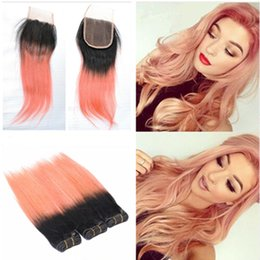 $enCountryForm.capitalKeyWord Canada - Two Tone 1B Rose Gold Dark Root Ombre Silk Straight Brazilian Virgin Human Hair Extensions 3 Bundles With Lace Closure 4x4 Free Part