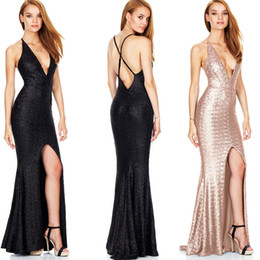 Barato Senhoras Vestidos Maxi Backless-Ladies Maxi Mermaid Dress Gold Black Sequins Long Runway Vestidos Formais Slim-Fit V-Neck Backless Evening Party KLG0705
