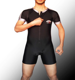 Barato Ternos Apertados-Badiace Man Short Sleeves Swimsuit Stripe Full Body Tight Leotards Swimsuit One piece Profissão Swimwear Wrestling Suit