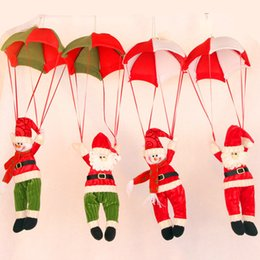 Wholesale 2017 Christmas Decorations Hanging Christmas Decorations Parachute Santa Claus Snowman Ornaments For Christmas Indoor Decorations Xmas Gift