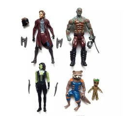 Guardians Galaxy Figures NZ - Guardians of the Galaxy 2 Action Figures toy Kids Avengers Superhero Star-Lord Rocket Baby Groot PVC toys 5pcs set DHL Shipping B001