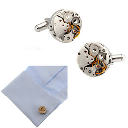 $enCountryForm.capitalKeyWord Australia - Mechanical Watch Movement Steampunk Mens Wedding Cufflink Silver Plated Cufflinks Sleeve Nail French Business Shirt Cuff Link Christmas Gift