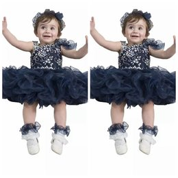 Barato Vestidos De Bola Cupcake Toddler-Cute Baby Kids Dark Navy Ocasional Ocasional Cupcake Vestidos Vestidos infantis de bolas de tutu Toddler Beaded Crystal Birthday Party Gowns