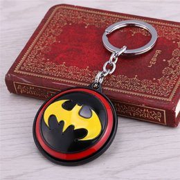 Superhero Keychains Canada - Wholesale Movie Keychains Superhero Bat-man Logo Rotatable Key Chain For Women&Men Key Accessorry Size 5cm Blister Package
