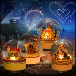 $enCountryForm.capitalKeyWord Canada - DIY Crystal Glass Ball Music Box Wooden Dollhouse With Lights Miniature Dollhouse Furniture Romantic Birthday Xmas Wedding Gift