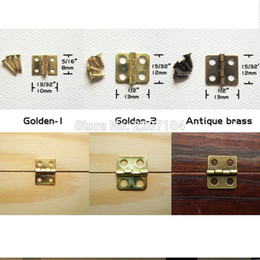 Discount wholesale door gift box - Wholesale- 12pcs Mini Small Light Golden Antique Brass Bronze Jewelry Chest Gift Music Box Wood Case furniture Dollhouse