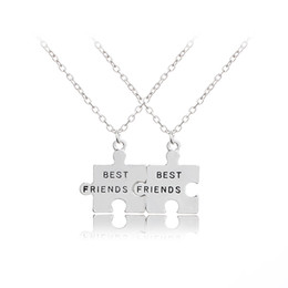 China 2pcs set New Jigsaw Puzzle Best Friends Necklace For 2 Handstamped BFF Two Chains Pendant Necklace Engraved Letters Gift cheap link two suppliers