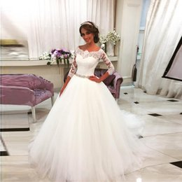 Muslim Wed Gown Cap Canada - 2017 New Arrived Saudi Arabia Vestido De Noiva 2016 Lace Three Quarter Muslim Scoop Wedding Dresses Court Train Bridal gown Tulle Ball Gowns
