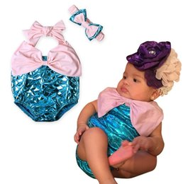 Barato Onesies Do Bebê Laços-Mais recentes Cute Girls Baby Clothes Sets Mermaid Rompers Headbands 2Pcs Set Summer Sleeveless Newborn Onesies Bow Tie Bodysuit Infant Clothes