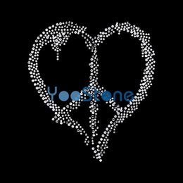 heart rhinestone transfer NZ - Newest Design Heart-shaped Love Heart Peace Hotfix Rhinestone Transfers Iron On Motif For Dress